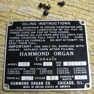 Hammond Organ M3 Model Serial No ID Plate Form A1