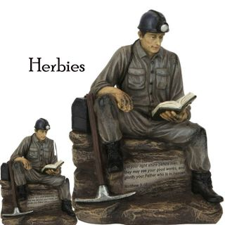 Classic Coal Miner Reading The Bible Figurine Statue New in Gift Box