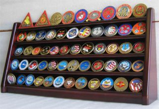 Row Military Challenge Casino Coin Display Rack Case Cabinet Stand
