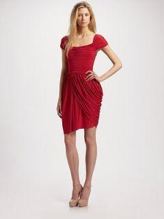 New BCBG Mikaela Rio Red Shirred Jersey Dress M $268 ACJ6O123