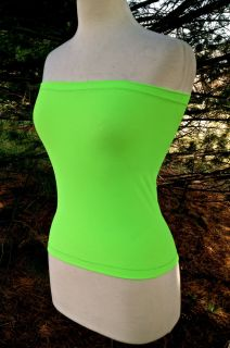 Tube Top Neon Green Stretch Matte Milliskin Full Lenght Lagenlook Size