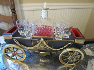 Horse Drawn Carriage Car Decanter Bar Set Music Box Shot Glass Napkins
