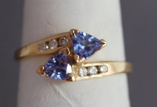 Estate Classic Trillion Cut Tanzanite and Diamond Yellow Gold Ring