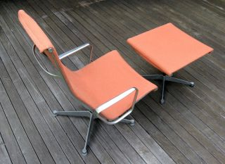 Vintage HERMAN MILLER EAMES ALUMINUM GROUP Tall Back LOUNGE CHAIR and