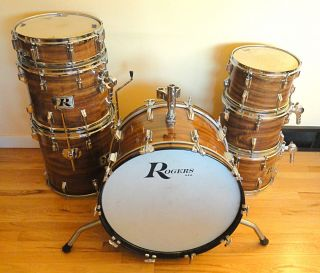 1970s Rogers Seven Piece Koa Wrap Big R Drum Set w/Tom Mounts, Clean