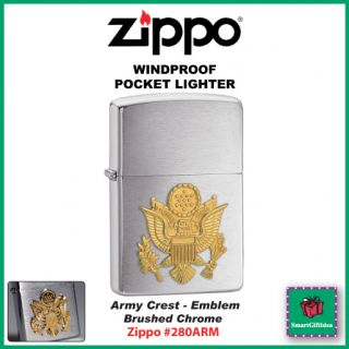 ARMY CREST EMBLEM BRUSHED CHROME GENUINE USA WINDPROOF ZIPPO LIGHTER