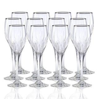 Mikasa Arctic Lights Platinum Crystal Wine Glasses 12