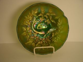 Millersburg Carnival Glass Green Trout and Fly Bowl Ice Cream Shape
