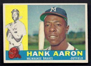 Hank Aaron Milwaukee Braves 1960 Topps Card 300