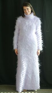 Hand Knitted Angora Mohair T Neck Sweater Dress, Floor Length