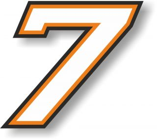 Sticker / Decal Race Number 7 Varsity small 80mm White orange black