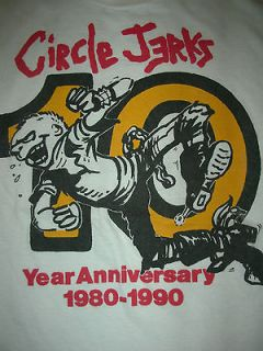 VTG 80s 90s CIRCLE JERKS CUT OFF PUNK CONCERT BAND TOUR T SHIRT