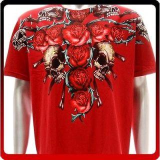 a38r Artful T shirt Sz M Tattoo Skull Graffiti Rock Cross Rose