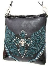 ANGEL WINGS BLACK TEAL RHINESTONE CROSS BODY WESTERN MESSENGER BAG