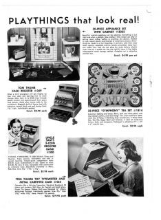 1957 AD TOYS TOM THUMB TYPEWRITER, CASH REGISTER,COLOR SLINKY, FUZZ