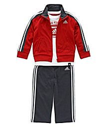 ADIDAS NWT Boy 3PC Track Suit Jacket Top Shirt Pant Red Dk Gray Tricot