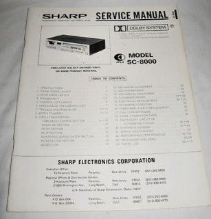 SHARP SC 8000 Stereo System Original SERVICE MANUAL