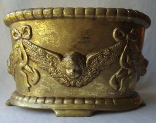 BEAUTIFUL LARGE GOLD CERAMIC CHERUBS ANGELS FOOTED PLANTER
