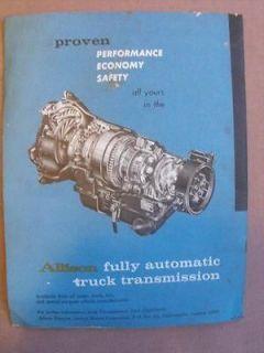Vintage Allison Transmission Sales Brochure / Literature / Pamplet