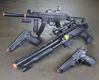 NEW Lot 4 Airsoft Guns Rifle Shotgun Beretta Pistol Air Soft Toy Combo