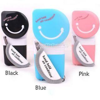 W3LE USB Mini Handheld Air Conditioner Cooler Fan 3 ColorBlack Blue