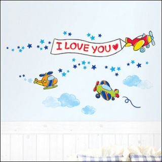 AIRPLANE Art Deco Mural Wall Paper Sticker KIDS SWST 71