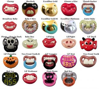 24 Choices Funny Baby Pacifiers Nuk Style by Billy Bob w/ Teeth and
