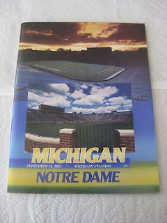 THE CATCH 1991 Michigan vs. Notre Dame Game Day Program. Excellent