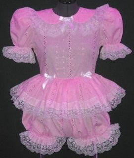 Custom Fit Eyelet Adult Baby Sissy Dress Romper LEANNE *PINK*YELLOW*B