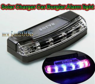 LED Solar Charger Car Violent flash Burglar Alarm Auto light Sensitive