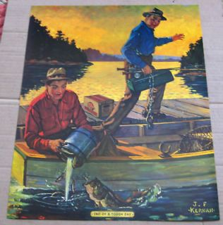 GRAIN BELT BEER ADVERTISING FISHING PRINT ~ L@@K  ~ VERY DETAILED