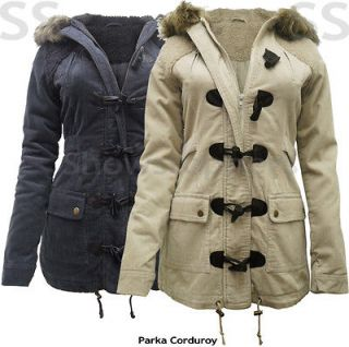 Size 8 10 12 14 16 NEW Womens PARKA MILITARY Ladies Corduroy JACKET