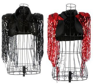 SEXY Tassel Short Jacket/Bolero/ Shrug Lady Gaga Style Black/Red Free