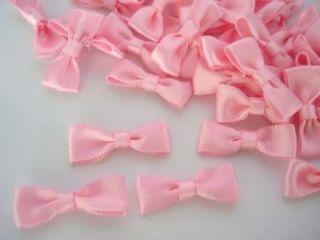 40 Pink Satin Simple Ribbon Bow Tie/wedding/trim/sewing/craft