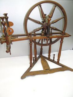 Antique Old Wood French? Working Childs Spinning Wheel Silk Flax