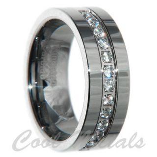 8mm Tungsten Carbide CZ Men Wedding Ring Band Size 12.5