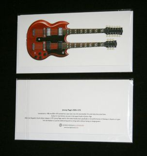 Jimmy Pages 1966 Gibson EDS 1275 Guitar Greeting Card, DL size