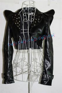 Faux Leather Short Jacket/Bolero/Shrug Jazz Dance Lady Gaga Black Free