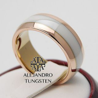 Alejandro Tungsten Carbide 8MM Rose Gold White Inlay Ring Band Size 13