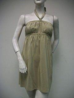 ALICE & TRIXIE Beyonce Mini Dress Size XS Taupe Low Back Neck Tie 100%