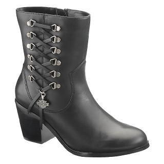 Harley Davidson Alanis Womens Leather Motorcycle Boots Black D84439