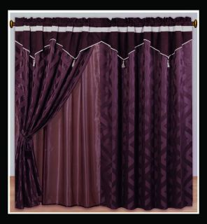 Luxury *Forbidden City* Burgundy Faux Silk CURTAIN SET Bed in a Bag