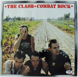 MICK JONES THE CLASH COMBAT ROCK SIGNED ALBUM COVER W/ VINYL PSA/DNA #