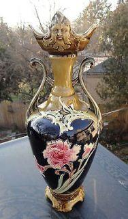 Antique Amphora Teplitz Art Pottery Vase Incised Floral Decoration