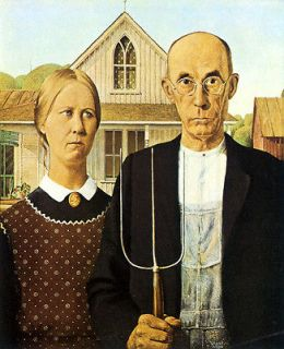 Couple American Gothic 1930 by Grant Wood USA US Fine Art Poster Repro