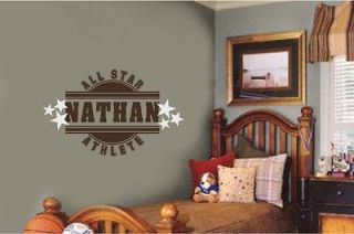 Name All Star Athlete Sports Vinyl Wall Decal Sticker Teen Room Decor