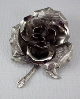 Vintage Large Rose Flower Brooch Figural pin 3D Silvertone jewelry 3 3