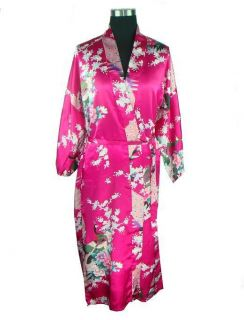 rose red blue black green chinese Silk Womens Kimono Robe Gown S M L