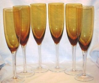 Amber Crystal Champagne Flutes 8 oz Clear Stems Brown Mid C Vtg Wine