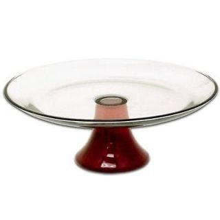 Anchor Hocking RUBY RED 13 x 4.5 PEDESTAL CAKE Server STAND Heavy
